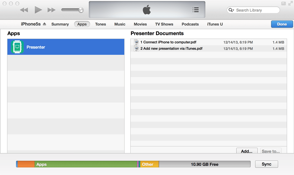 iTunes file sharing screenshot